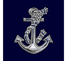 Chrome Style Nautical Rope Anchor Applique Photographic Print