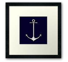 Chrome Style Nautical Thin Anchor Applique Framed Print
