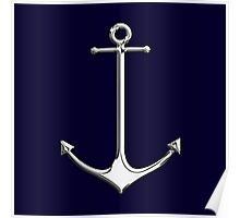Chrome Style Nautical Thin Anchor Applique Poster
