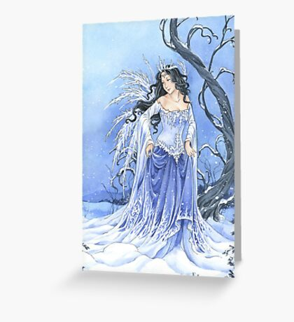 Blue Ice Snow Queen Fairy Greeting Card