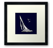 Chrome Style Nautical Sail Boat Applique Framed Print