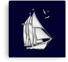 Chrome Style Nautical Sail Boat Applique Canvas Print