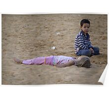 Children playing in the sand Poster