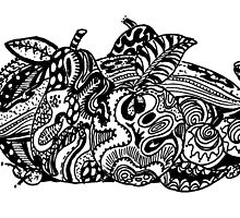 Fruit 1 - An Aussie Tangle Black & White  by Heatherian