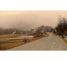Arlington Vermont Farm in Snow Storm Photographic Print