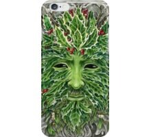 Holly King Christmas Yule Greenman portrait iPhone Case/Skin