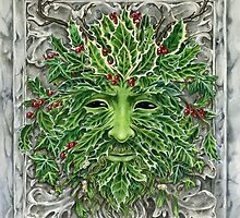 Holly King Christmas Yule Greenman portrait by meredithdillman