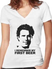 I Remember My First Beer - Brennan Women's Fitted V-Neck T-Shirt