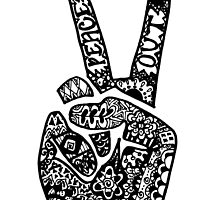 Hand Drawn Peace Out Sign by alexavec