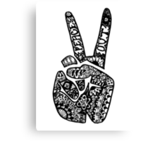 Hand Drawn Peace Out Sign Canvas Print
