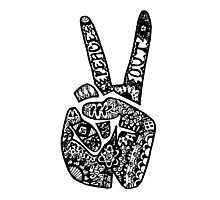 Hand Drawn Peace Out Sign Photographic Print