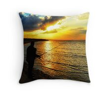 Fishing at sunset... Throw Pillow