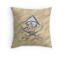 Chrome Pirate Crossbones in Sand Throw Pillow