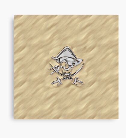 Chrome Pirate Crossbones in Sand Canvas Print