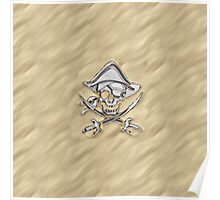Chrome Pirate Crossbones in Sand Poster