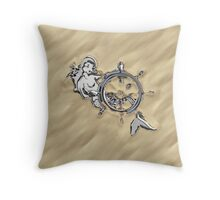 Chrome Mermaid in Sand Throw Pillow