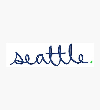 Seattle Cursive - City Scroll Photographic Print
