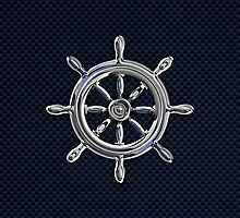 Chrome Style Nautical Wheel Applique by Garaga