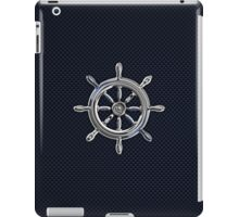 Chrome Style Nautical Wheel Applique iPad Case/Skin
