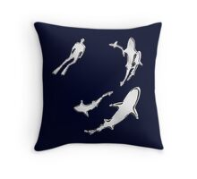 Chrome Style Nautical Diver N Sharks Applique Throw Pillow