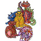 CRAZY CATS ~ a colourul bunch of felines! by Lisa Frances Judd~QuirkyHappyArt