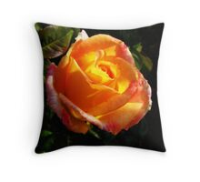 Sunlit Rose Throw Pillow