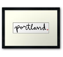 Portland Cursive - City Scroll Framed Print