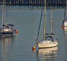 Three Boats in Southampton Harbour, UK by Gerda Grice