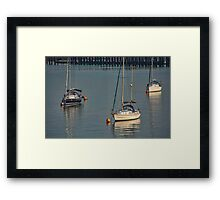 Three Boats in Southampton Harbour, UK Framed Print