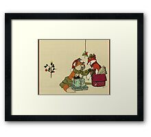 Foxes in Christmas Boxes Framed Print