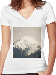 Pandim's peak in the Himalayas Women's Fitted V-Neck T-Shirt