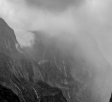 Milford Sound, New Zealand BW Sticker