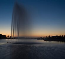Cardinia Lake Fountain at Sunset by Mark Jones