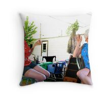 Trailer Park Sisters Throw Pillow