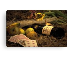 Wine, Food And Solitude Canvas Print