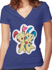 Plusle hearts Minun Women's Fitted V-Neck T-Shirt