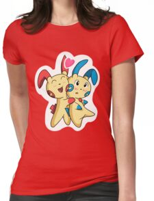 Plusle hearts Minun Womens Fitted T-Shirt