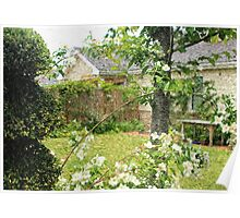 House with Nice Lawn and White Flowers Poster