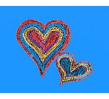 Two vivid color shape hearts close one to each other Photographic Print