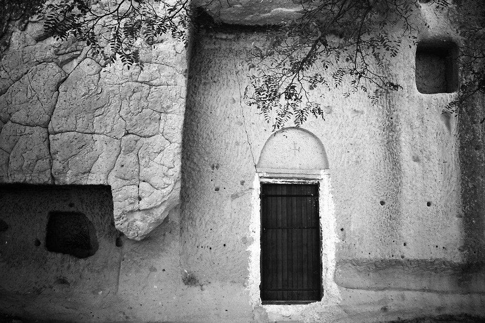 Cappadocian Cave Door (Black And White) by Josh Wentz