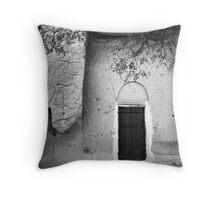 Cappadocian Cave Door (Black And White) Throw Pillow