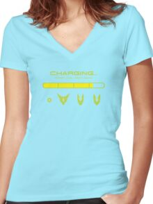 CHARGING CELL Women's Fitted V-Neck T-Shirt