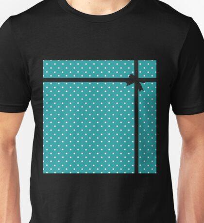 Blue Polka Dot with Black Bow Unisex T-Shirt