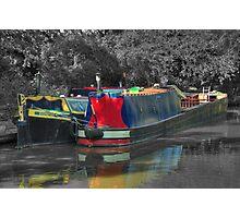 Narrowboats moored at canal side Photographic Print