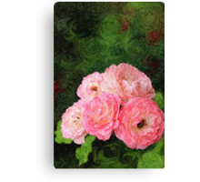 Pretty Pink Painterly Roses with Green Background Canvas Print