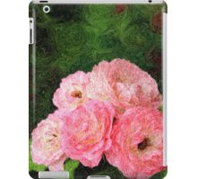 Pretty Pink Painterly Roses with Green Background iPad Case/Skin