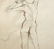 gesture drawing - pencil - 7 by 10 - 4.12.06 by Micheal Bilyeu