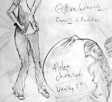Gillian and Helen - pencil - 9 by 12 - 6.19.97 by Micheal Bilyeu