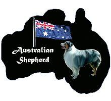 Australian shepherd with map of Australia by IowaArtist