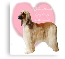 Afghan Hound with heart Canvas Print
